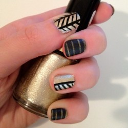 Black and gold. #nails #gold #nailart  (Taken with Instagram)