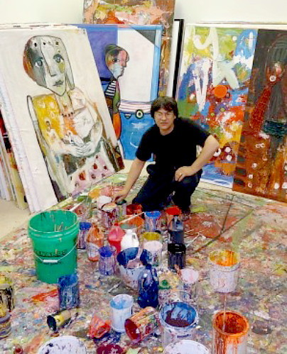 Costel Iarca in his studio