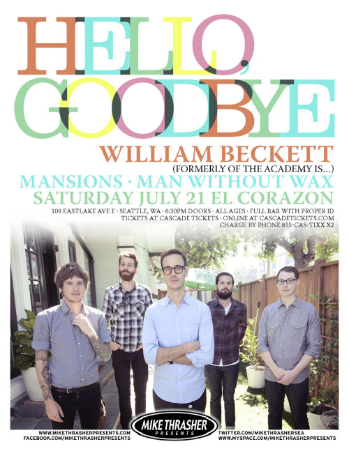 We can't wait for this show on Saturday. Get your tickets now! http://manwithoutwax.bigcartel.com/product/tickets-to-mww-hellogoodbye-el-corazon