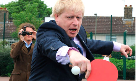 Action shot of Boris playing table tennis. Pro obviously
