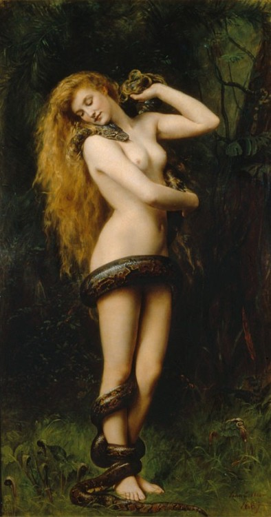 "bloodmagik:  Lilith In Jewish folklore, Lilith is the name of Adam's first wife, who was created at the same time and from the same earth as Adam. She left Adam after she refused to become subservient to Adam and then would not return to the Garden of Eden after she mated with archangel Samael.[10] Her story was greatly developed, during the Middle Ages, in the tradition of Aggadic midrashim, the Zohar and Jewish mysticism.[11] The resulting Lilith legend is still commonly used as source material in modern culture, literature, occultism, fantasy and horror.  The Pre-Raphaelite Brotherhood, which developed around 1848,[122] were greatly influenced by Goethe's work on the theme of Lilith. In 1863, Dante Gabriel Rossetti of the Brotherhood began painting what would later be his first rendition of Lady Lilith, a painting he expected to be his ""best picture hitherto""[122]Symbols appearing in the painting allude to the ""femme fatale"" reputation of the Romantic Lilith: poppies (death and cold) and white roses (sterile passion). Accompanying his Lady Lilith painting from 1866, Rossetti wrote a sonnet entitled Lilith, which was first published in Swinburne's pamphlet-review (1868), Notes on the Royal Academy Exhibition.[123] The poem and the picture appeared together alongside Rossetti's painting Sibylla Palmifera and the sonnet Soul's Beauty. In 1881, the Lilith sonnet was renamed ""Body's Beauty"" in order to contrast it and Soul's Beauty. The two were placed sequentially in The House of Life collection (sonnets number 77 and 78).[122] Rossetti wrote in 1870:   Lady [Lilith]…represents a Modern Lilith combing out her abundant golden hair and gazing on herself in the glass with that self-absorption by whose strange fascination such natures draw others within their own circle. —Rossetti, W. M. ii.850, D.G. Rossetti's emphasis[122]"