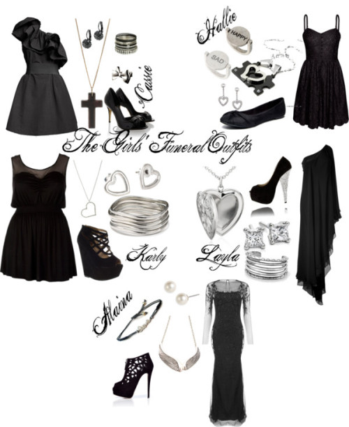 The Girls' Funeral Outfits by abba-katniss-horan featuring black gownsMarchesa  gown, $10,595 / Halston Heritage black gown / H&M black cocktail dress / Black tunic / Giuseppe Zanotti suede boots / Fendi peep toe pumps, $525 / Suede shoes, $155 / Rocket Dog flat shoes / Strappy heels, $54 / Effy Collection heart jewelry / Blue Nile  jewelry / Stolen Girlfriends Club bow ring, $275 / House of Harlow 1960 engraved jewelry / Blue Nile locket necklace / Titanium jewelry / Cuff bangle / Gold jewelry / Givenchy pearl stud earrings / Teardrop earrings / Dorothy Perkins wooden jewelry / Wing jewelry / Wet Seal set of bangle / Wet Seal chain link necklace / Ring, $11 / Fat Face heart jewelry, $7.76
