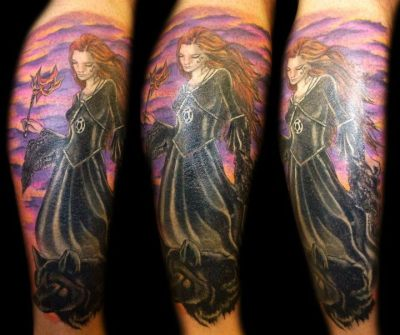 fuckyeahtattoos:  Healed photo -this is a cover up of a 30 year old pin up and cluster of flowers, scrolls and names. Don't have a 'before' photo, but hope you enjoy :-) By Miss Rie at Miss Rie's Tattoo Studio, Newport, South Waleswww.missrie.co.uk