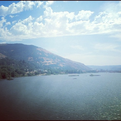 Driving up to Hood River with Terra. (Taken with Instagram at Hood River Toll Bridge)