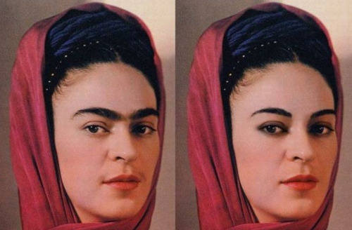 Wow. This is what Frida Kahlo would have looked like with modern makeup and waxed eyebrows.