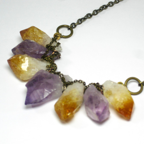 Amethyst And Citrine Necklace @hausoftopper, 33% off now featured on Fab.Fab.comA little bit Rock n' Roll, a little bit classic elegance, the Amethyst And Citrine Necklace features a beautiful cluster of raw gemstones on a copper chain. Striking and edgy, this necklace will fit right in at a concert or a classy affair.