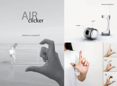Air Clicker camera concept by Yeon Su Kim. This bluetooth-enabled device is designed to connect with a smartphone. Once the photo or footage is taken, it can be instantly saved on your smartphone. The forefinger module senses whether your finger is straight, bent, or bent with the rest of your fingers. If you bend only the one finger, the other piece of the puzzle takes a photo. If you bend several fingers, you'll begin to take a video. The thumb module has only a camera lens and an on/off button visible and is responsible for both collecting the media and transporting the resulting files to your smartphone. From there you can do whatever you want with the files as they sit on your smartphone while the Air Clicker remains free and clear.