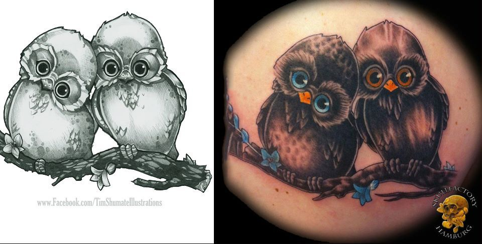 "Skull-factory Did a tat of my ""OWL ALWAYS LOVE YOU"" design."