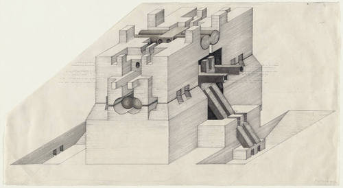 "Walter Pichler's ""Underground Building, project, Isometric"" (1963). Gladstone Gallery announced today that the Austrian artist died yesterday at age 76."