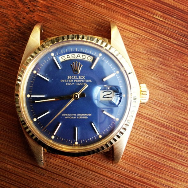 Vintage Day-Date w blue dial, and Spanish day. #gangsta - @hodinkee-