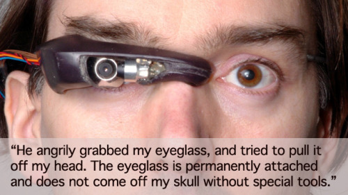 adove:  the-occult:  deepredroom:  Man is assaulted over his technological augmentations and has his robotic eye damaged by 3 McDonalds employees. …..it has begun….  @door @zoe  jack my body
