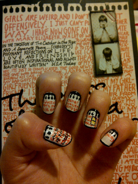 emmysnails:  The Perks of Being a Wallflower nail art.  That is some serious dedication…