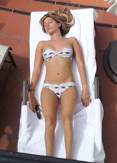 Ashley Tisdale relaxing by the pool at the Bacara Resort and Spa