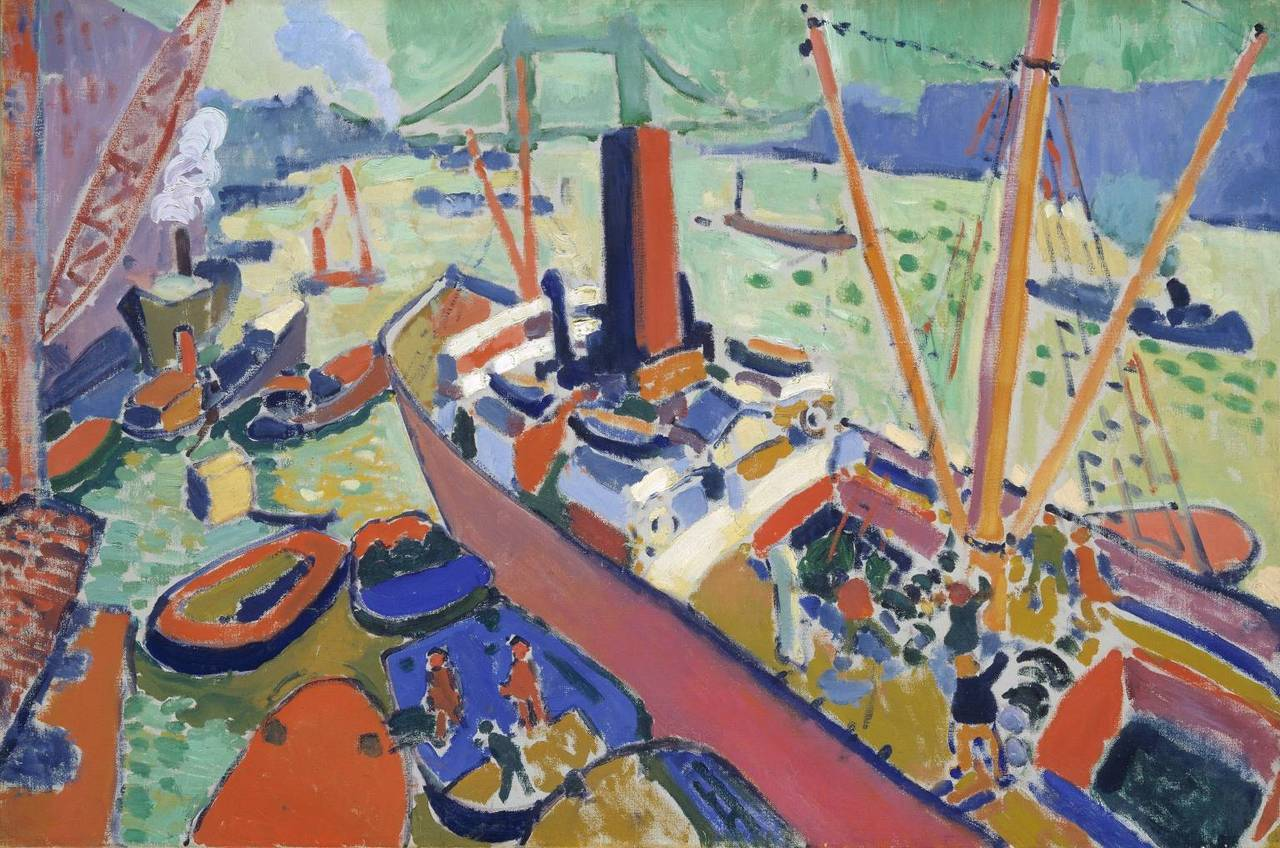 cavetocanvas:  André Derain, The Pool of London, 1906 From the Tate Collection:  This view of the Thames from London Bridge is one of four works painted by Derain, showing the same part of the river. At this time he was a leading member of the Fauve group of painters in Paris. He had been sent to London by his dealer, Vollard. The idea was to update, in Fauve style, the popular Thames views painted by Claude Monet a few years earlier. Strongly-coloured and freely-handled, this painting is characteristic of Fauvism in creating vivid effects through bold contrasts of colour.
