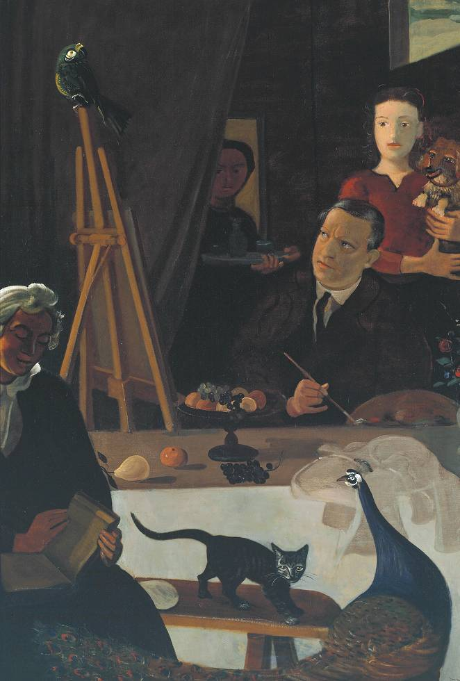 cavetocanvas:  André Derain, The Painter and His Family, c. 1939 From the Tate Collection:  This painting is an allegorical representation of the life of an artist. It is a completely invented scene, bearing no resemblance to the solitariness of Derain's true working conditions. He has portrayed himself surrounded by members of his family, who can be seen as modern muses. His wife reads a book, a reference to the artist's literary interests. His niece holds a dog, a symbol of her fidelity to the artist. His sister-in-law brings refreshments in the manner of a maidservant in a seventeenth-century painting. The animals and fruit also symbolise aspects of the calling of an artist.