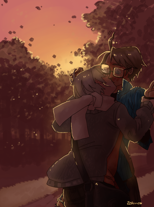 silvensorrow:  petrolsocken:  30 days OTP challange - Day five - kissing Have been a liiiiittle lazy with this one OTL  Look at The Ahoge, it goes doki-doki too *<*  oh my gosh that lighting is great!