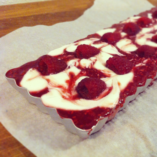 Raspberry & Cream bars , recipe via EatingWell.  At 100 calories per serving, it's pretty hard to refuse that flat of raspberries you see sitting so beautifully in the market, taunting you. So I may have eaten 2…