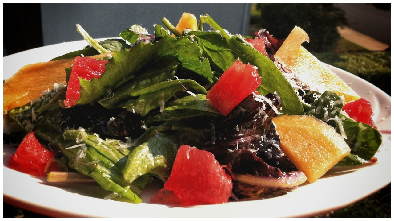 New salad at the restaurant: mixed greens with local watermelon, local cantaloupe, parmesan cheese, and melon vinaigrette. Pretty refreshing for summer.