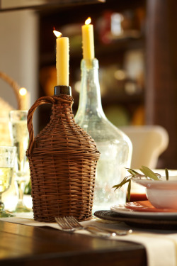 An unexpected candle holder – these hand woven wine bottles were inspired by some found in Hungary.