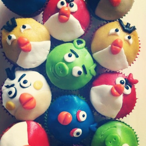 My sister made Angry Birds cupcakes. Hilarious.  (Taken with Instagram)