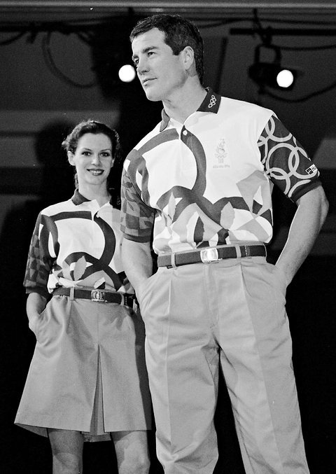 olympicfashion:  1996 Hanes models sporting the uniforms to be worn by volunteers at Atlanta games. (via 7 Olympic Uniforms of Yore - NYTimes.com)