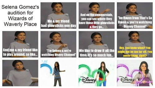 imawesomeyourenotgetoverit:  Selena Gomez's audition for 'Wizards of Waverly Place'.