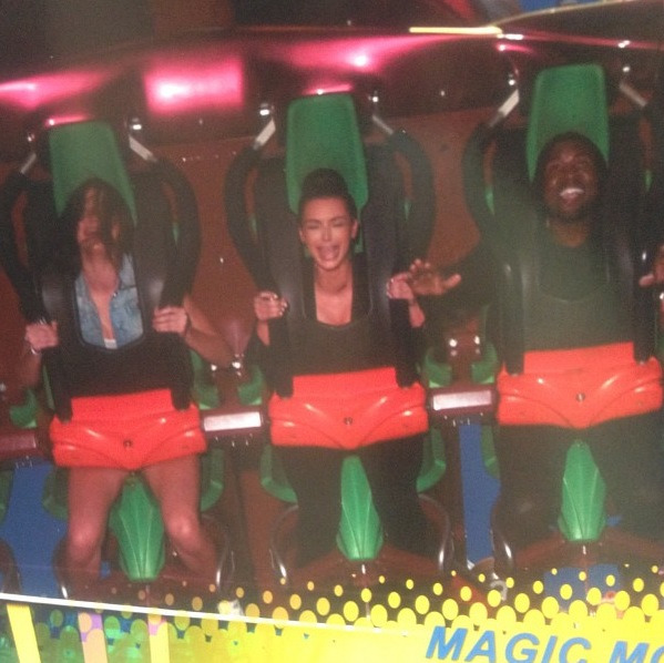 bambinia:  kendall, kim and kanye on magic mtn