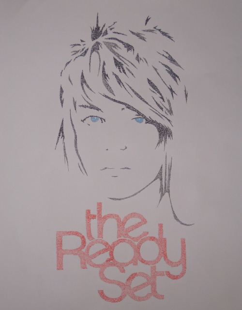 trsdaily:  vicious-rhythm:  Jordan Witzigreuter of The Ready Set - lyric portrait Based on the cover for I'm Alive, I'm Dreaming. Pen drawing made up of lyrics for the songs More Than Alive, Giants, Back to Back, and Stays Four the Same. Made for my friend :)  Wow this is incredible!!