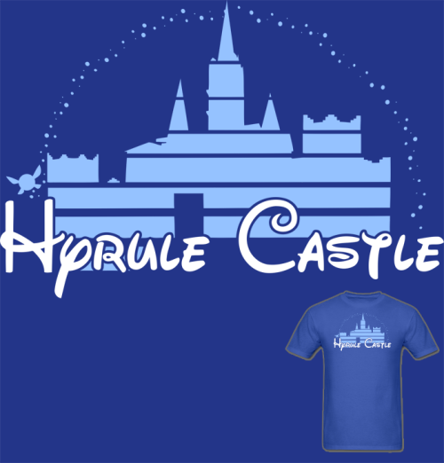 muchneededmerch:  NEW Legend of Zelda Ocarina of Time Hyrule Castle T Shirt! Another Disney/Zelda crossover. :) Available in Mens, Womens, and Kids/Teens sizes. Follow Much Needed Merch on Tumblr and or Facebook (10% off code)