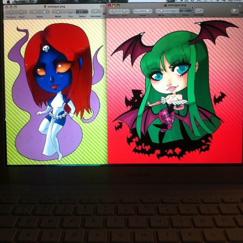 bunnyfavorites:  New keychain designs. Morrigan and mystique! I'm re doing most of my other designs too. Now that I have time lol #morrigan #mystique #anime #art #chibi #marvel #capcom  (Taken with Instagram)