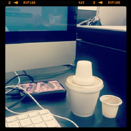 My only friends: iMac, External hard drive, & Cuban coffee (Taken with Instagram)