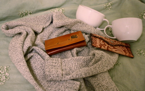 autumnfever:  some of today's thrift store finds:cozy sweater, two white mugs (big enough for my excessive coffee drinking), and two leather wallets