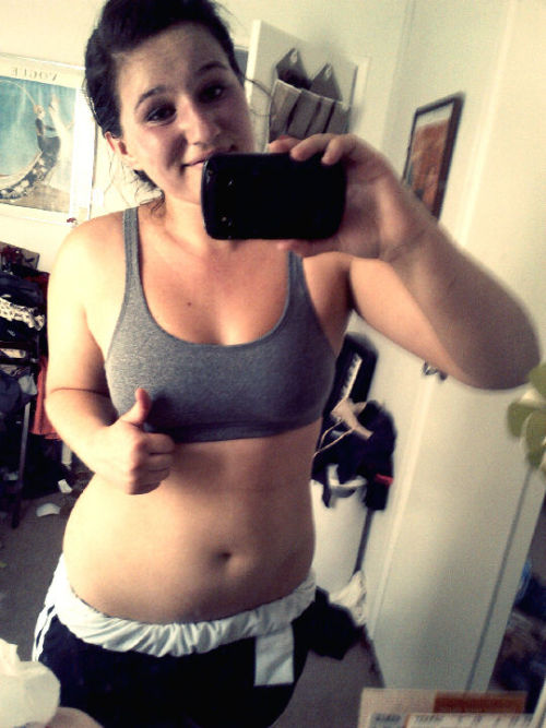Insanity Day 9 (: I'm kinda flexing my abs. Lol