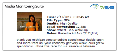 "It's back. Peter Hoekstra's put the racist ""Debbie Spenditnow"" ad BACK on the air after all the backlash from earlier this year. Click here to donate to Debbie Stabenow and make sure Pete the Racist never gets to the senate."