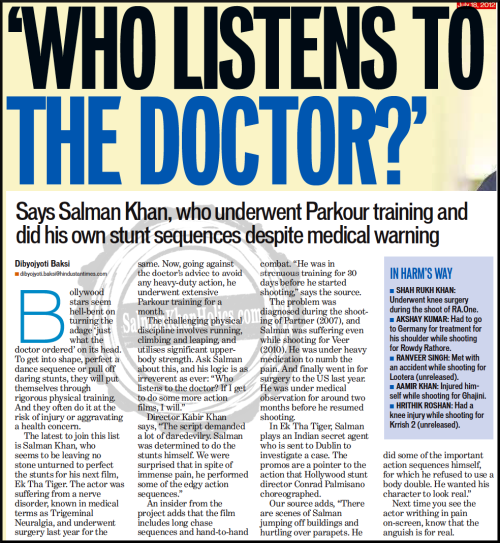 ★ 'Who listens to the Doctor?' Says Salman Khan who underwent Parkour training and did his own stunt sequences despite medical warning…. !!