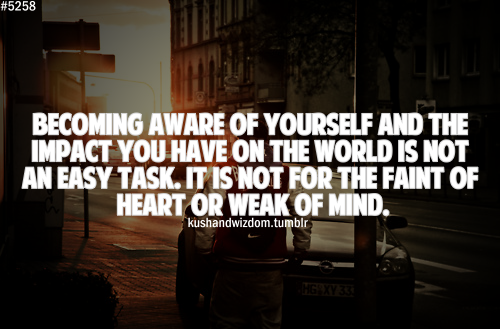 """Becoming aware of yourself and the impact you have on the world is not an easy task. It is not for the faint of heart or the week of mind."""