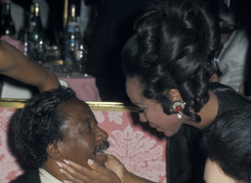 Diahann Carroll greeting the legendary photographer Gordon Parks at the 1969 Governor's Ball at the Academy Awards at Dorothy Chandler Pavilion in Los Angeles, April 14, 1969. Photo by Ron Galella/WireImage