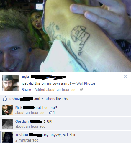 SUBMITTER'S COMMENT: The damn guy tattooed HIMSELF, probably in a really dirty/unclean environment. I'm not friends with him on fb, this just appeared in my newsfeed.  WHAT'S AWFUL: Uhm, let's see… Home done (most likely in an unsterile environment), his friends are encouraging it, dem lines. HOW IT CAN BE FIXED: Go to a professional…….. It's really THAT simple.