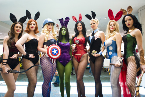 briannacherrygarcia:  keaneoncomics:  Comic-Con 2012 – Playboy Avengers (by Onigun)  LOL I know like three of those girls. I went to high school with the Loki Bunny. <3