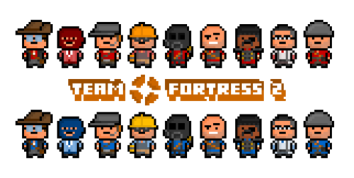 It's Team Fortress 2 ! All of the classes from Valve's incredibly popular (and chaotic) team-based multiplayer shooter, brought together in a much improved and heavily shrunken pixel form.  From left to right : Sniper, Spy, Scout, Engineer, Pyro, Heavy, Demoman, Medic and Soldier.
