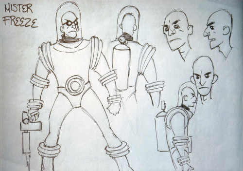 Original Mike Mignola concept sketch for the design of Mister Freeze from Batman: The Animated Series. Scanned from Batman Animated.