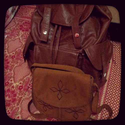 My pals on this trip #bags #sling #backpack #vintage #brown #leather #suede #traveler #backpacker #traveling #backpacking #adventure #adventurer #instagram #instago #instagramers #instagood #instadaily #instaphoto #dailyphoto  (Taken with Instagram at Paingan, Yogyakarta)