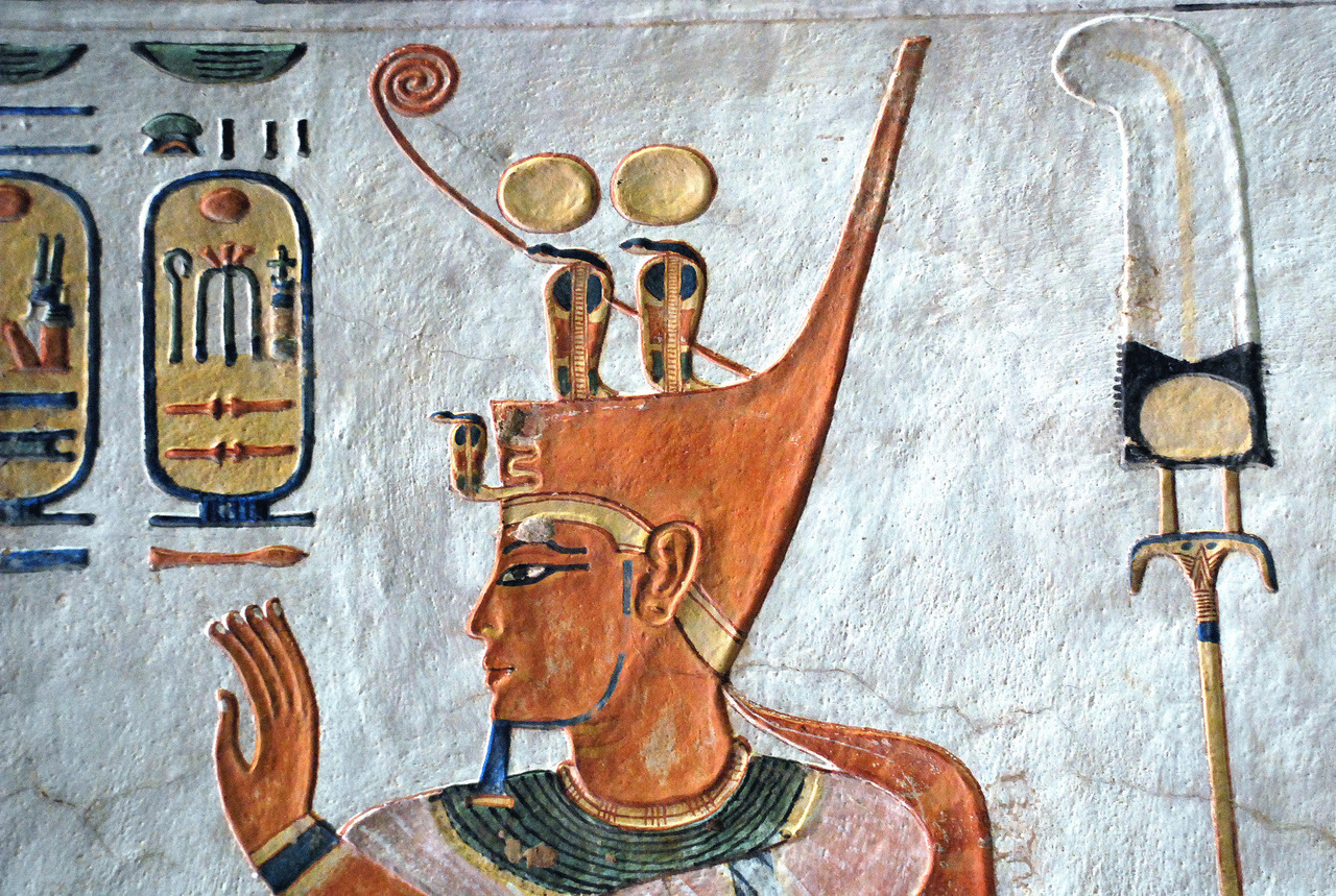 ancientart:  Detail showing King Ramses III on a mural painting from the tomb of his son, Prince Khaemwaset. Located at West Thebes, Valley of the Queens.