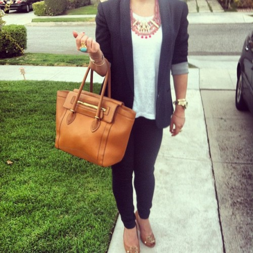 #ootd - Rock Office Chic #what i wore #work attire #jcrew #tote #anthropologie #statement #necklace #rag & bone #blazer #dvf #fashion #fashion diaries #street style #office chic  #style #outfit  (Taken with Instagram at Los Angeles, CA)