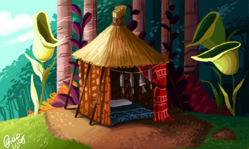 Environment a Day: Day 16 The hut of a little tribal boy that lives on the edge of the forest. He is of the age where every little boy goes on his spiritual journey into manhood! The hut is a sort of halfway house between the village and the forest, where his journey will take place.