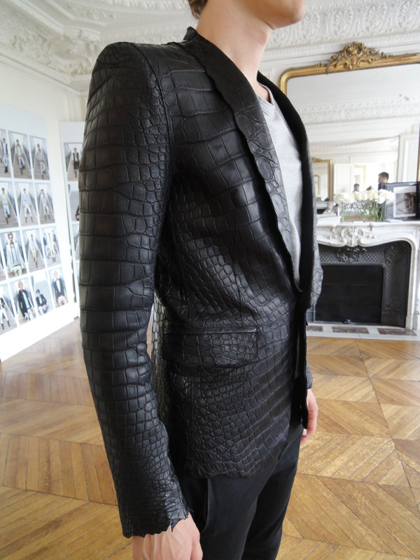 BALMAIN black crocodile jacket S/S 2012