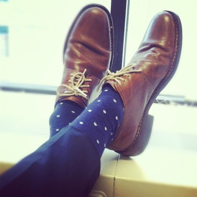 Working hard #socks #menswear #polkadots #shoes #work #nyc #fashion #style  (Taken with Instagram)