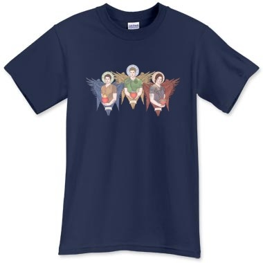 GUARDIAN ANGEL TRIO T Shirt- Castiel, Dean and Sam  in 31 colours! Heavyweight and high-quality, Gildan UltraCotton. Available in sizes from Kids XS - Adult 5XL. Blue Dusk shown. Individual angel images in two styles also available in my shop! http://printfection.com/karadin Angels Castiel, Dean and Samuel personify Sacred Love, Loyalty and Compassion, each bearing a significant tattoo, their names are written in each halo in Enocian. All proceeds benefit CurePity.org - Gillette Children's Speciality Healthcare, a non-profit hospital in St. Paul MN, where the artists' son receives weekly occupational therapies.