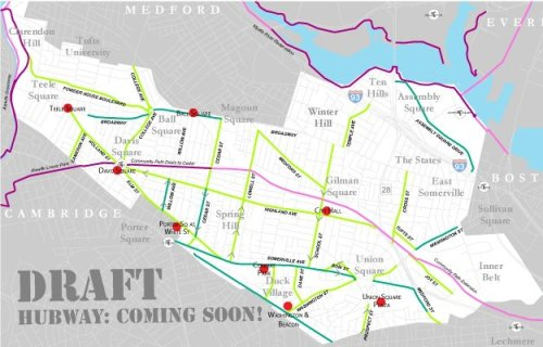 Here's a draft map of where the Hubway stations in Somerville are being planned.