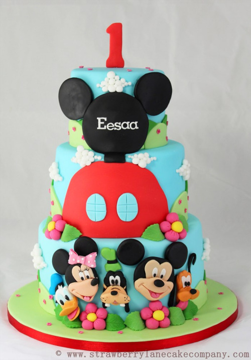 Mickey Mouse Club House and Friends 1st Birthday Cake (by Strawberry Lane Cake Company)